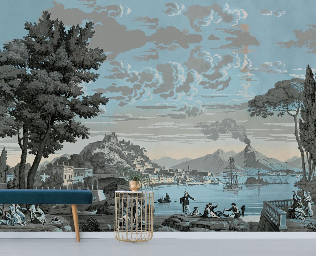 Panoramique Vues d'Italie bleu céleste . 1823