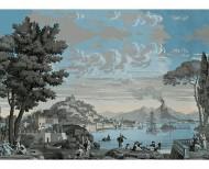 Papier peint panoramique Vues d'Italie bleu céleste . 1823