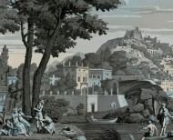 Panoramic wallpaper Views from Italy celestial blue . 1823