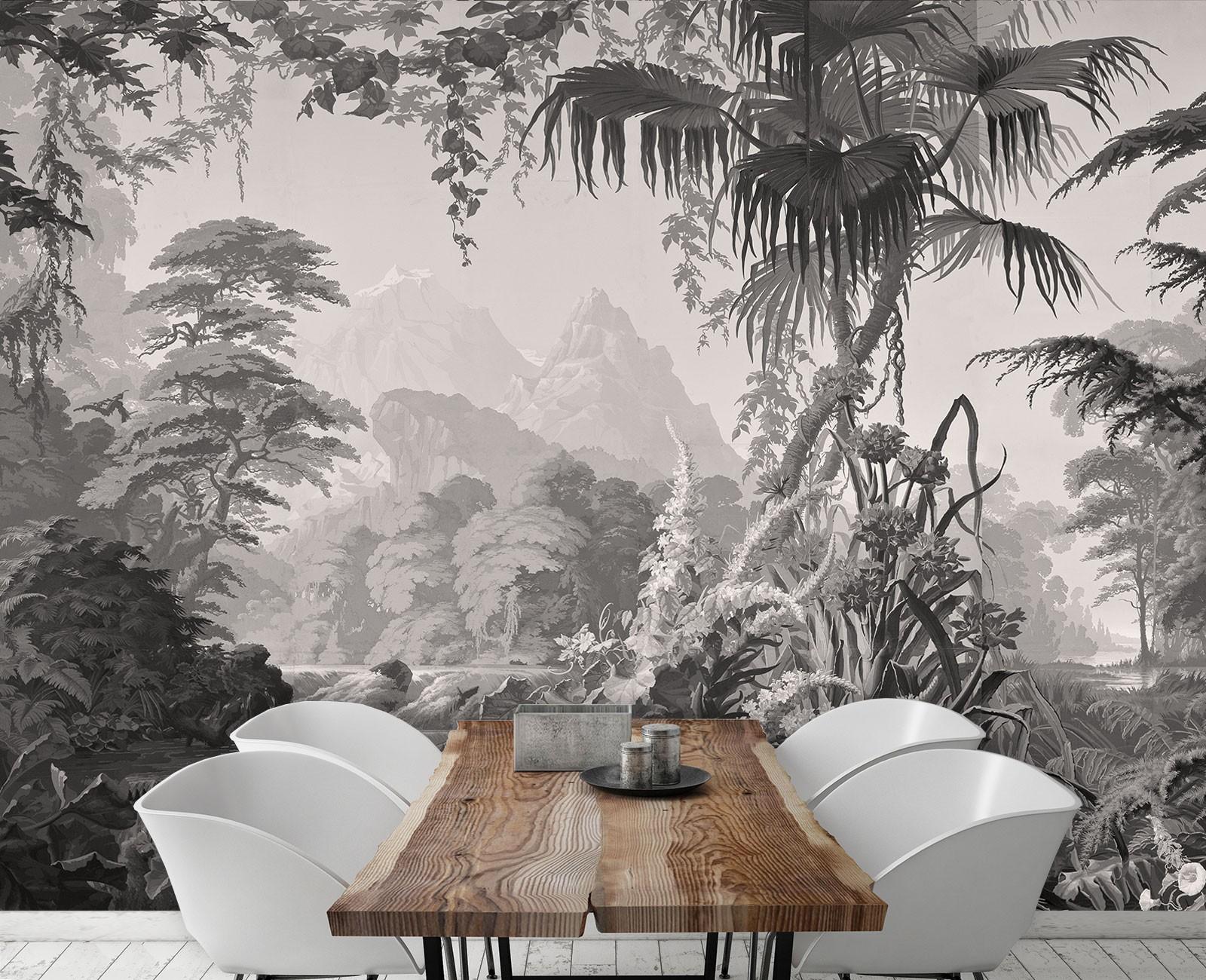 Papier Peint Panoramique Paysage panoramique l'eden monochrome