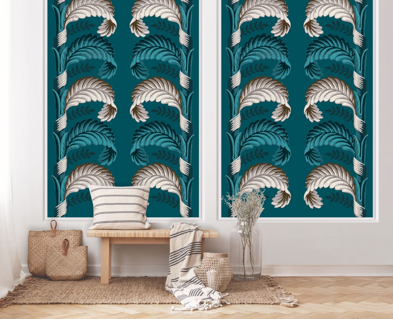 Decorative wallpaper Stylized leaves peacock blue