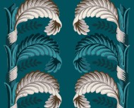 Decorative wallpaper Stylized leaves peacock blue . 1803