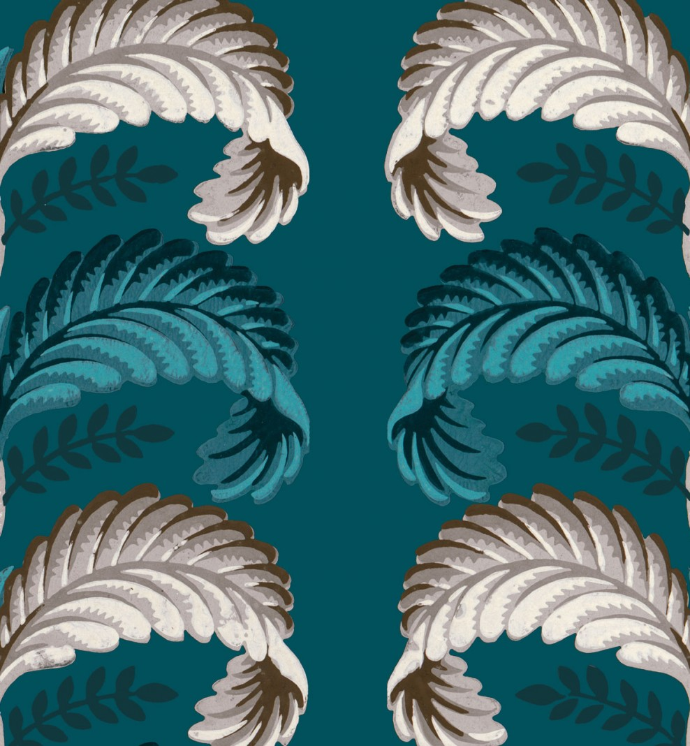 Papier décor Feuilles stylisées bleu paon . 1803