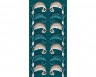 Papier peint décor Feuilles stylisées bleu paon . 1803