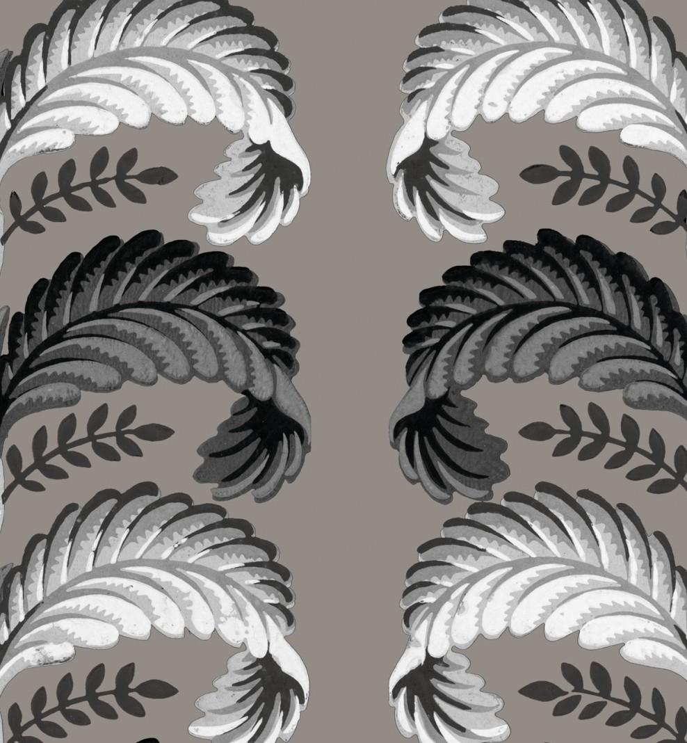 Papier décor Feuilles stylisées beige . 1803