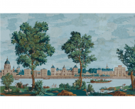 Panoramic wallpaper Paris monuments polychrome . 1812