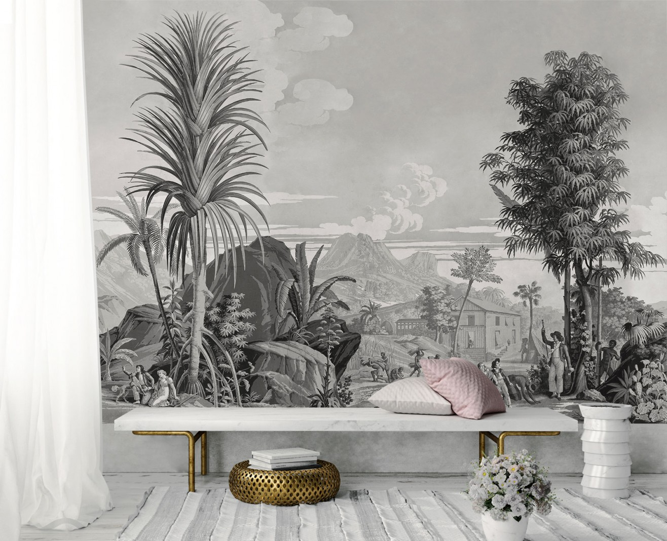 Panoramique Paul et Virginie monochrome . 1824