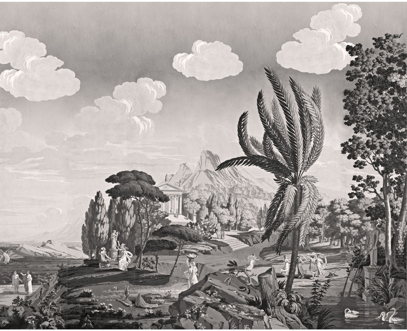 Papier Peint Panoramique Paysage panoramique paysage de télémaque dans l'île de calypso