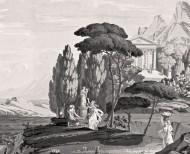 Papier peint panoramique Paysage de Télémaque dans l'île de Calypso monochrome . 1818