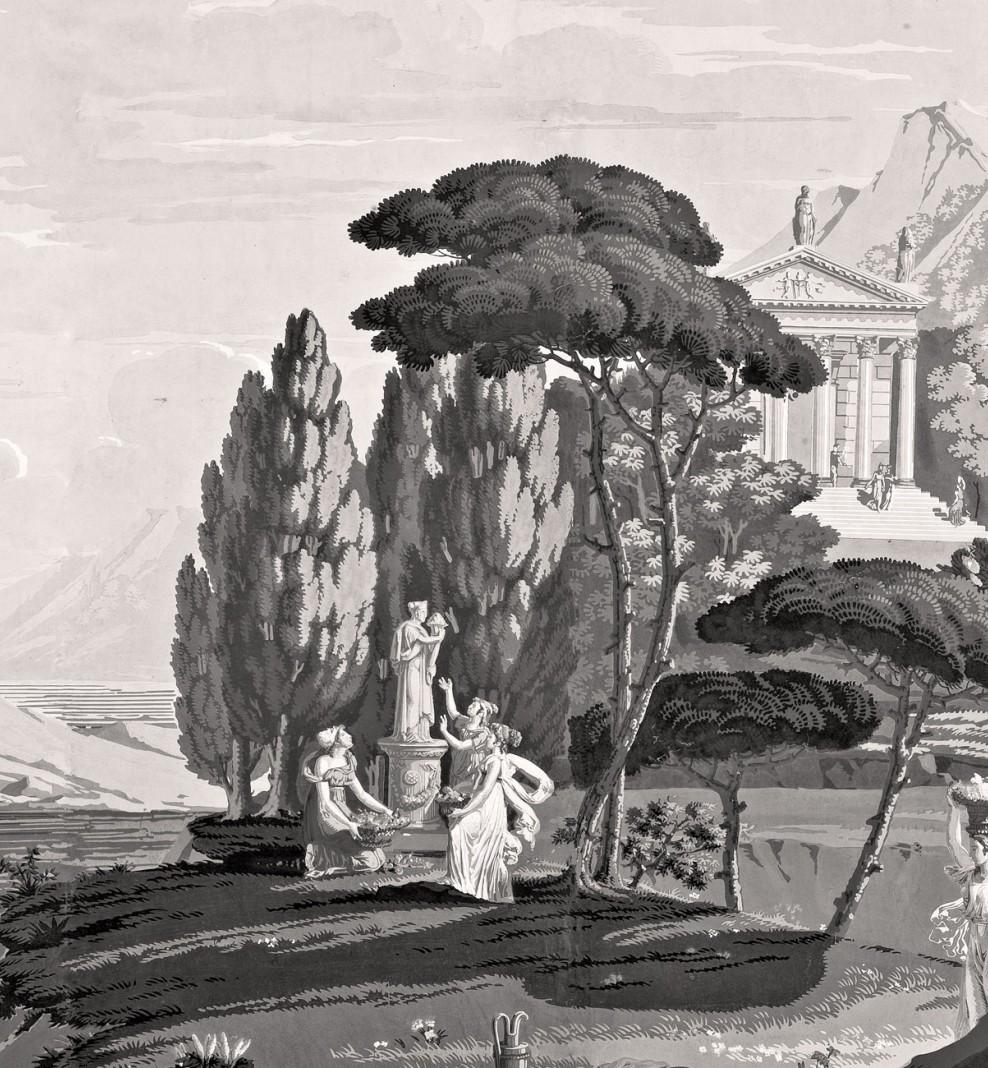 Panoramique Paysage de Télémaque dans l'île de Calypso monochrome . 1818