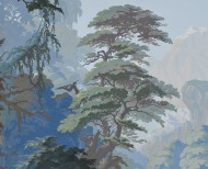 Panoramic wallpaper Eden forest blue . 1861