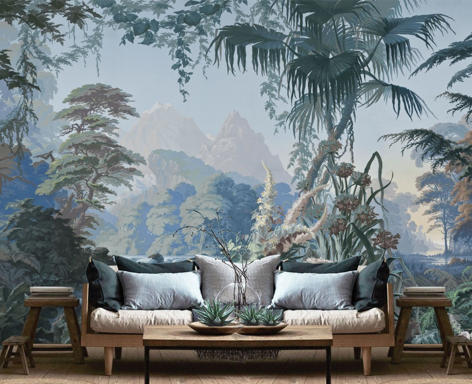 Papier peint panoramique L'Eden bleu forêt . 1861