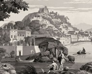 Panoramic wallpaper Views from Italy monochrome . 1823