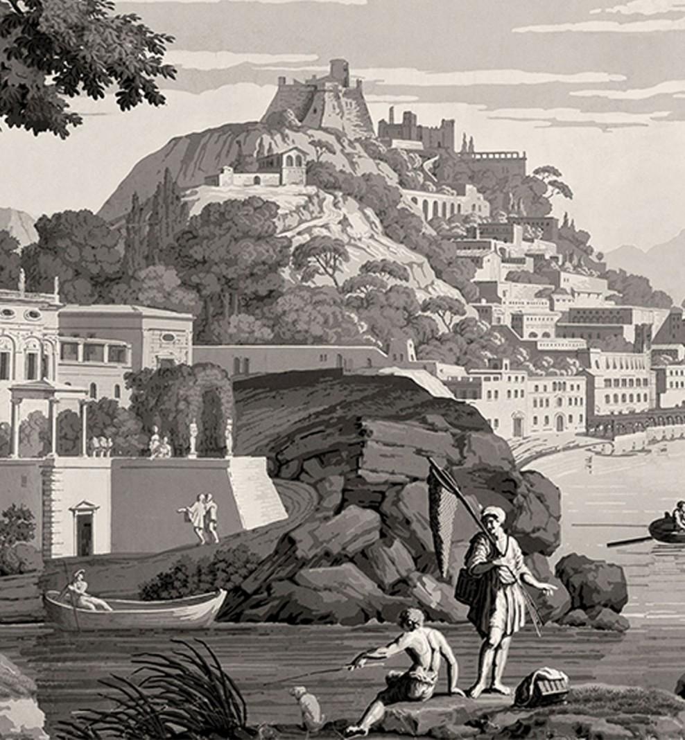 Panoramique Vues d'Italie monochrome . 1823