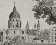 Panoramic wallpaper Paris monuments monochrome . 1812