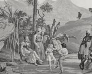 Papier peint panoramique Paul et Virginie monochrome . 1824