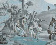 Papier peint panoramique Paul et Virginie bleu azur . 1824