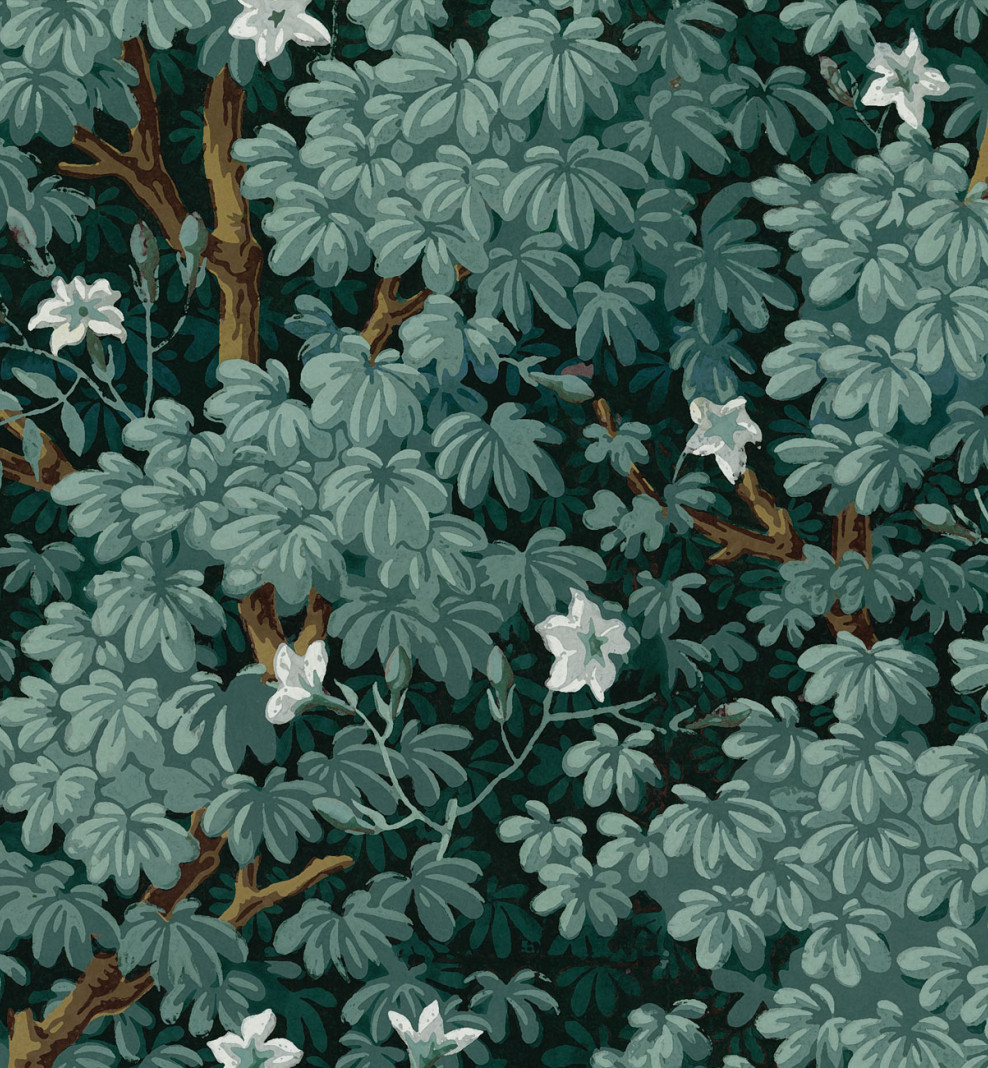 Decorative wallpaper Jasmine green grey . 1799