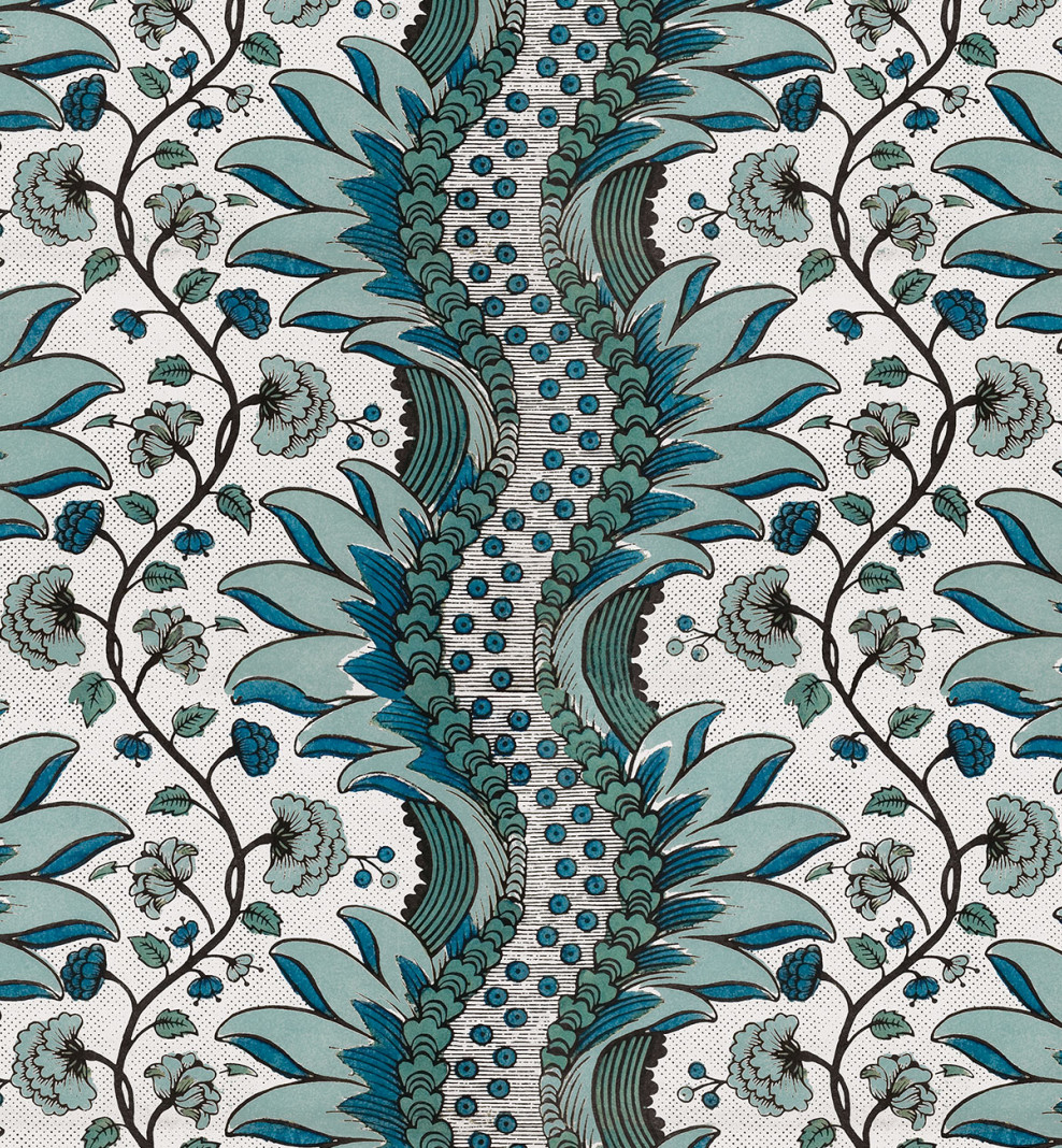 Domino wallpaper blue carnations . 1750