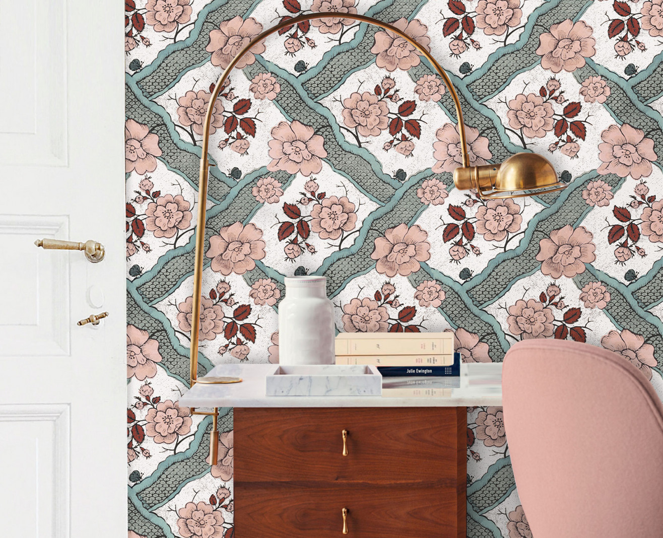 Domino wallpaper terracotta Ribbon . 1750