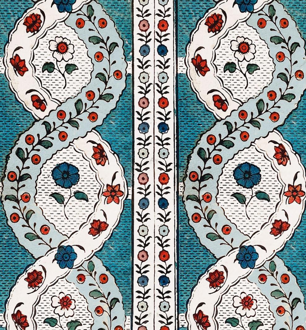 Papier peint dominoté Spirales de fleurs . 1760