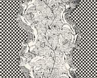 Domino wallpaper black & white checkerboard . 1750