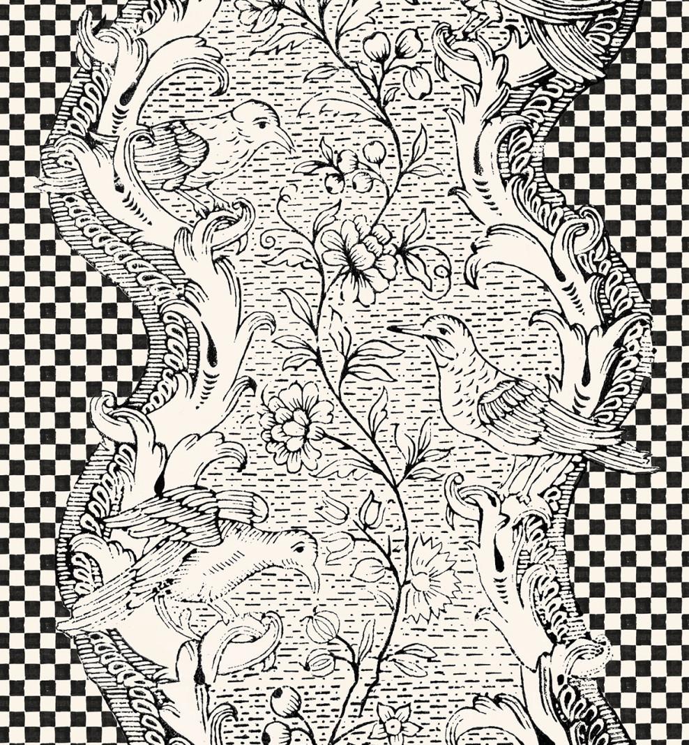 Papier peint dominoté Damier noir & blanc . 1750