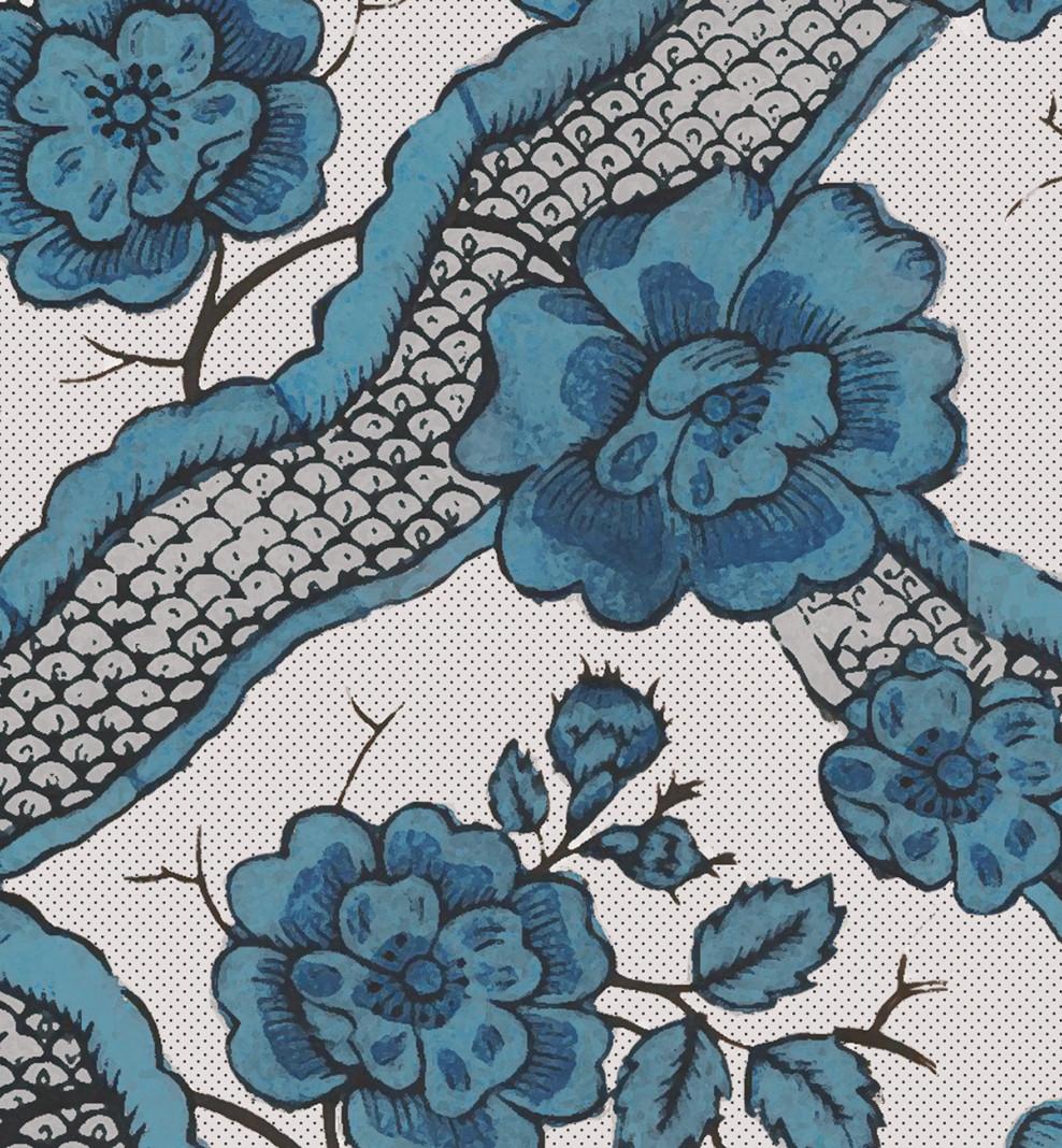 Papier peint dominoté Ruban bleu . 1750