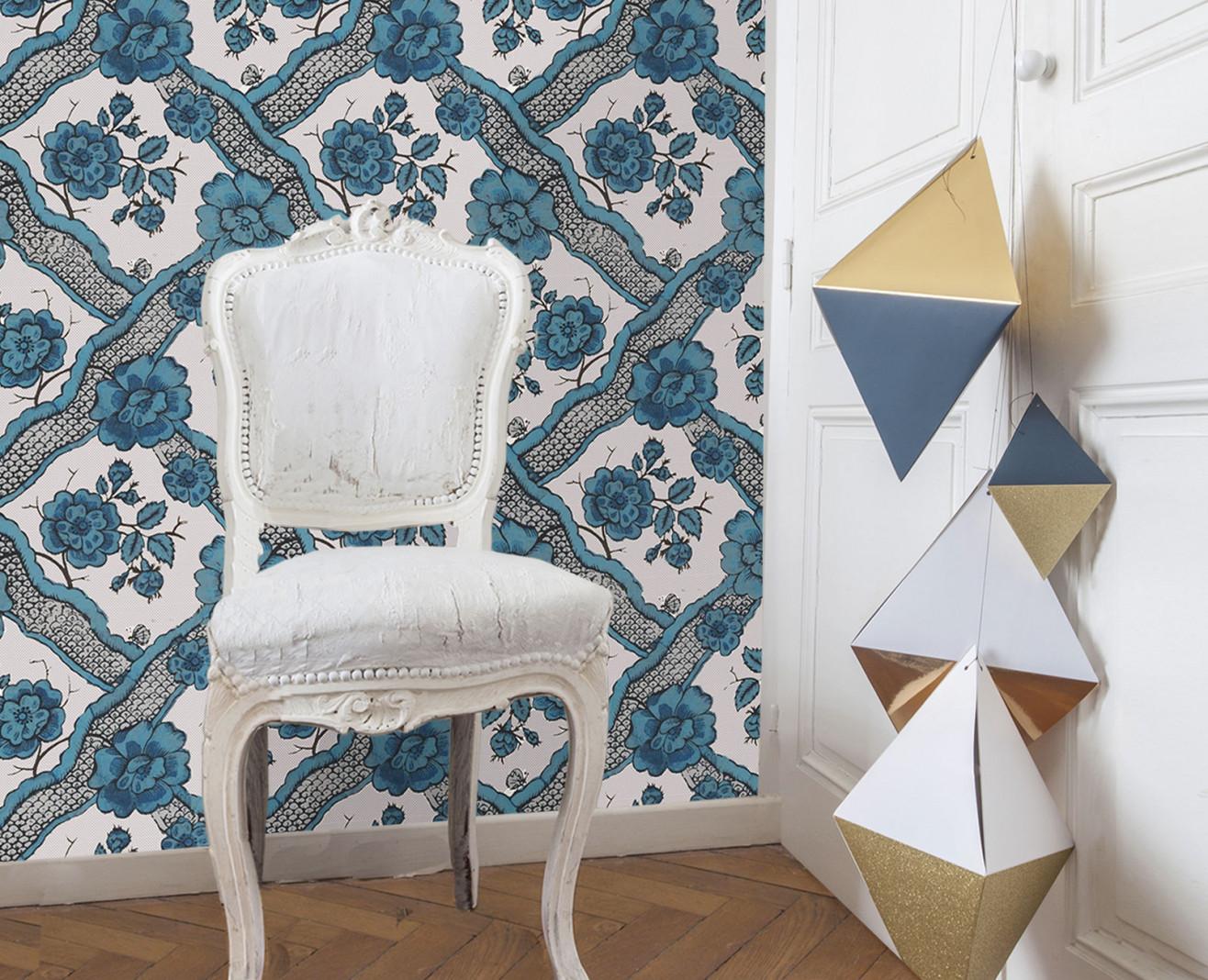 Domino wallpaper blue Ribbon . 1799