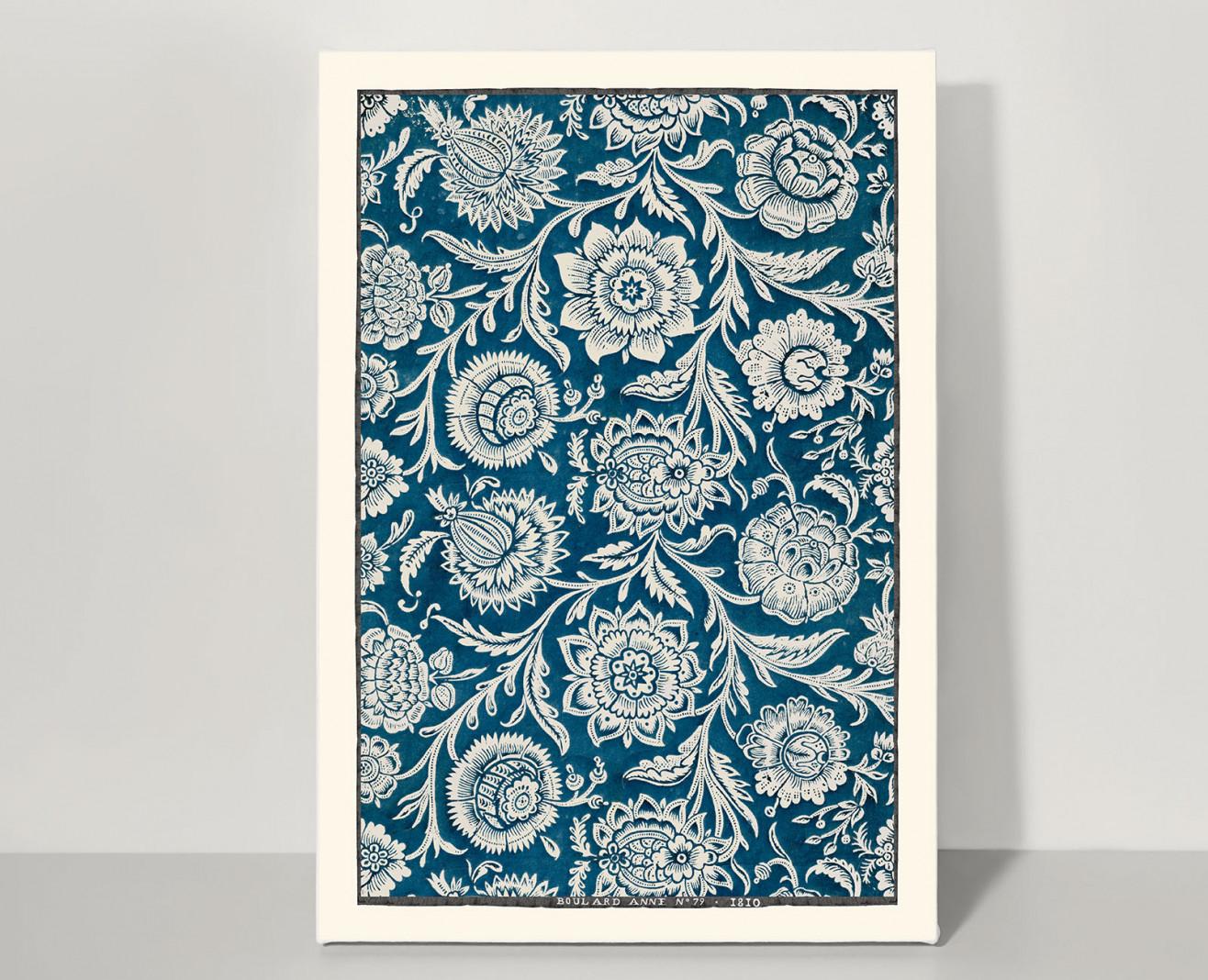 Domino board picock blue peonies A3 . 1810
