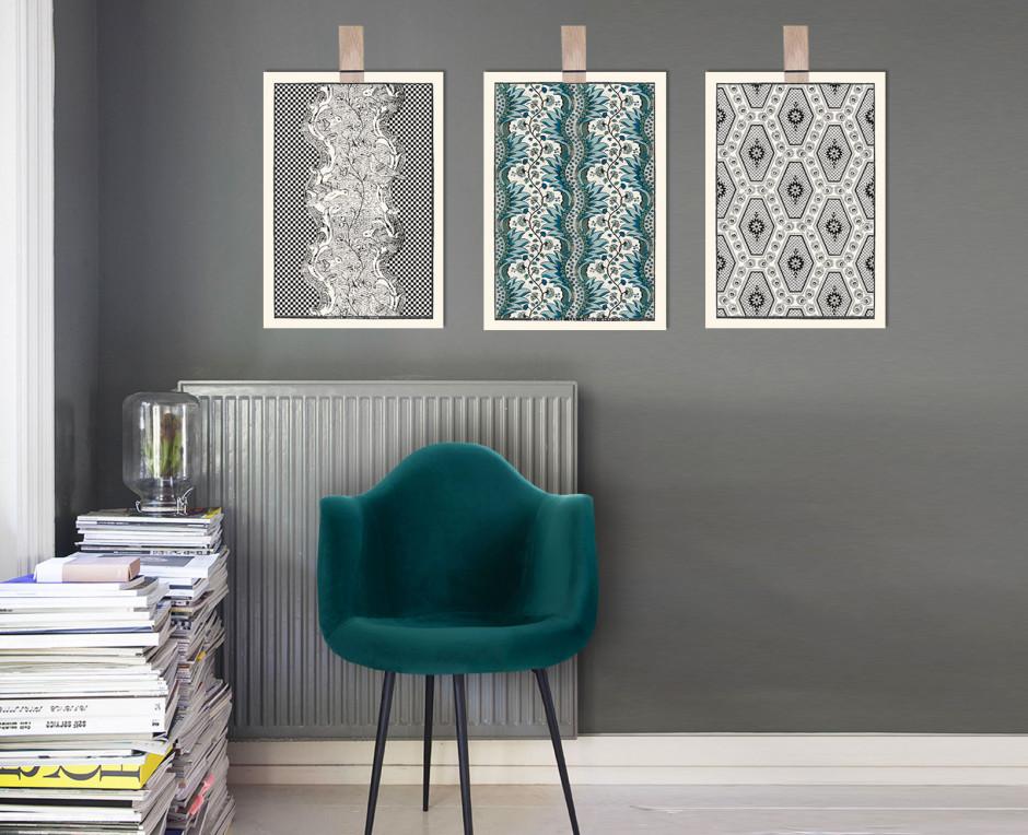 Trio of blue and black domino boards A3 . 1750