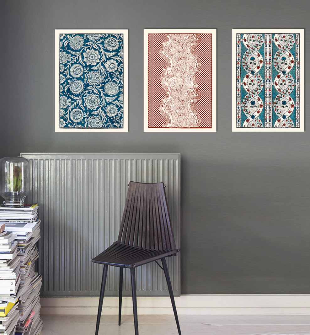 Trio de planches dominotées A3 bleu, blanc et rouge . 1750