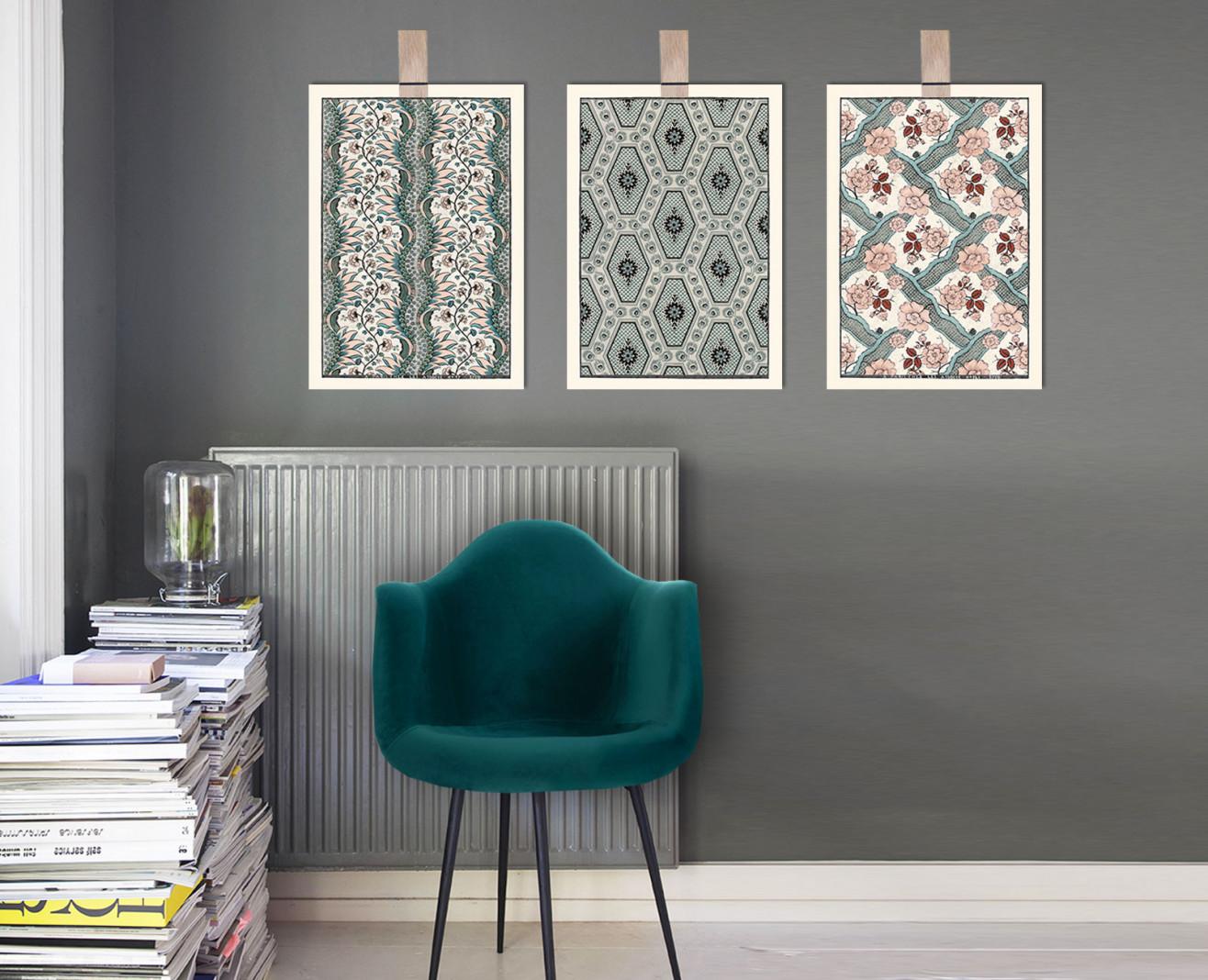 Trio de planches dominotées A3 terracotta et vert de gris . 1750-1850