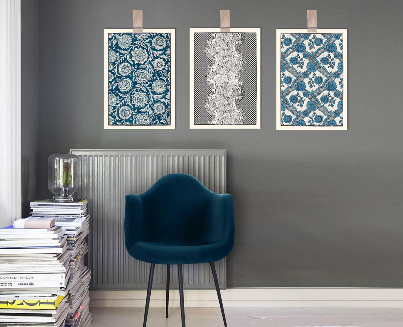 Trio de planches dominotées A3 bleu profond et noires . 1750