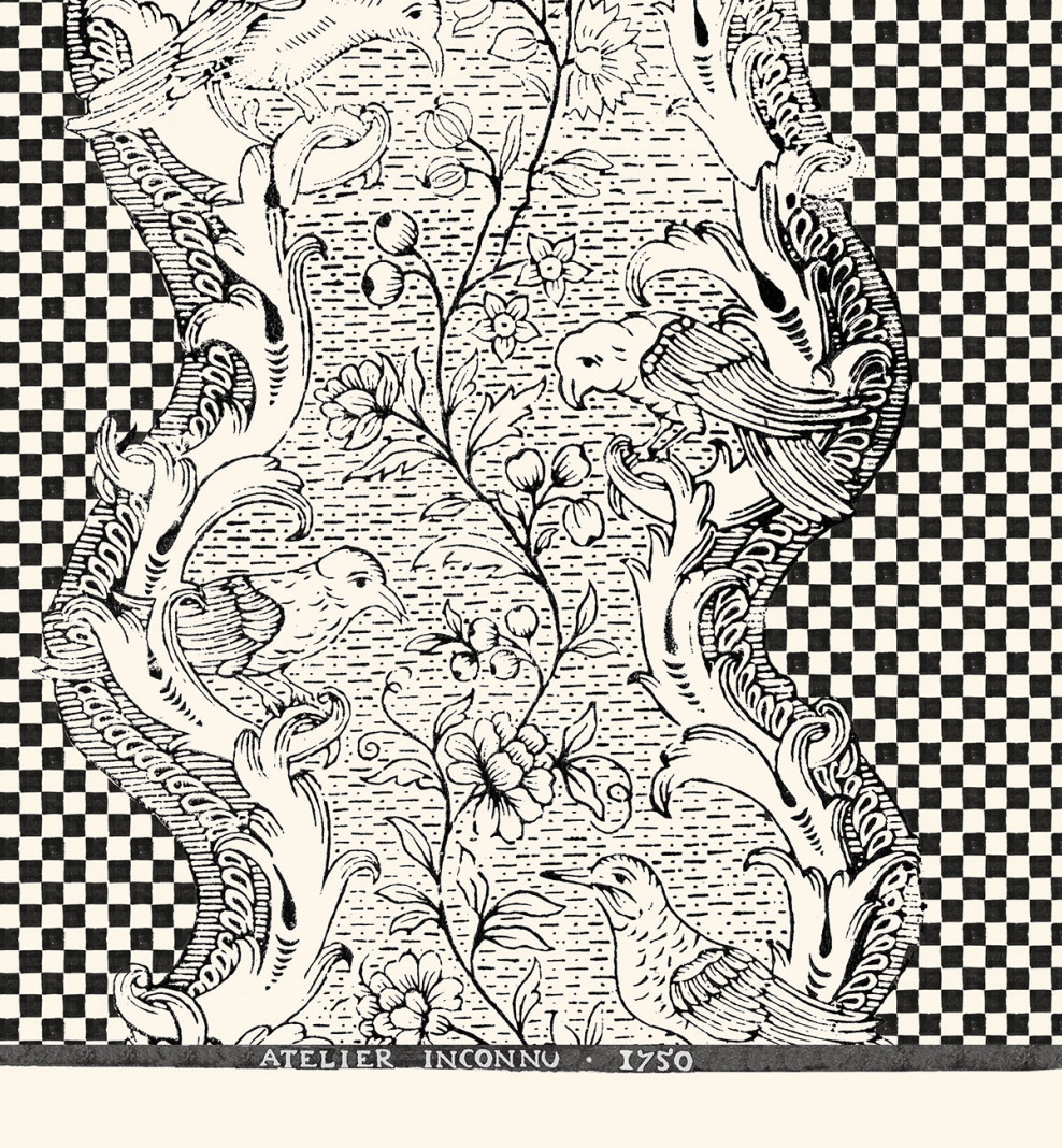 Domino board black and white checkerboard A3 . 1750