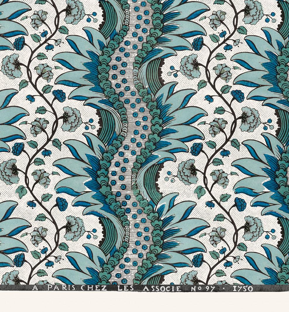 Feuille dominotée Oeillets bleus . 1750