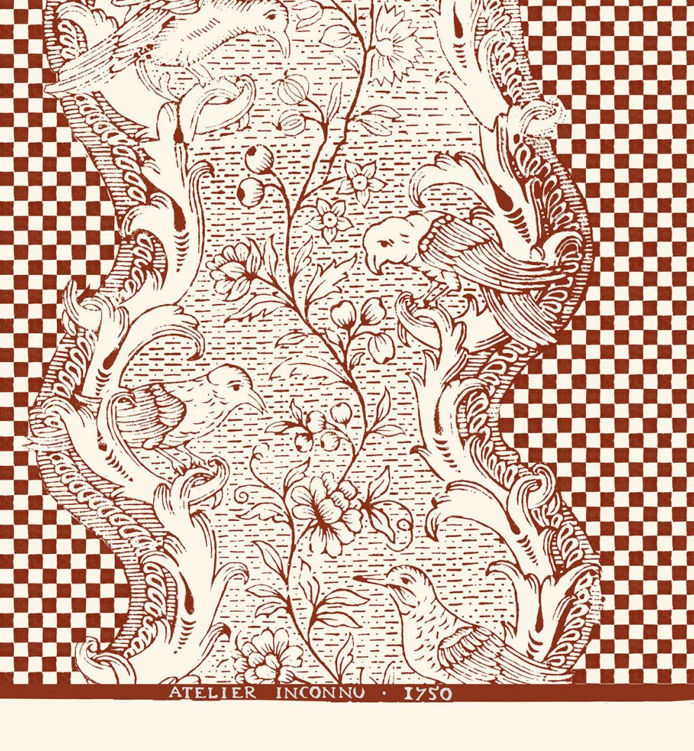 Domino board deep red checkerboard A3 . 1750
