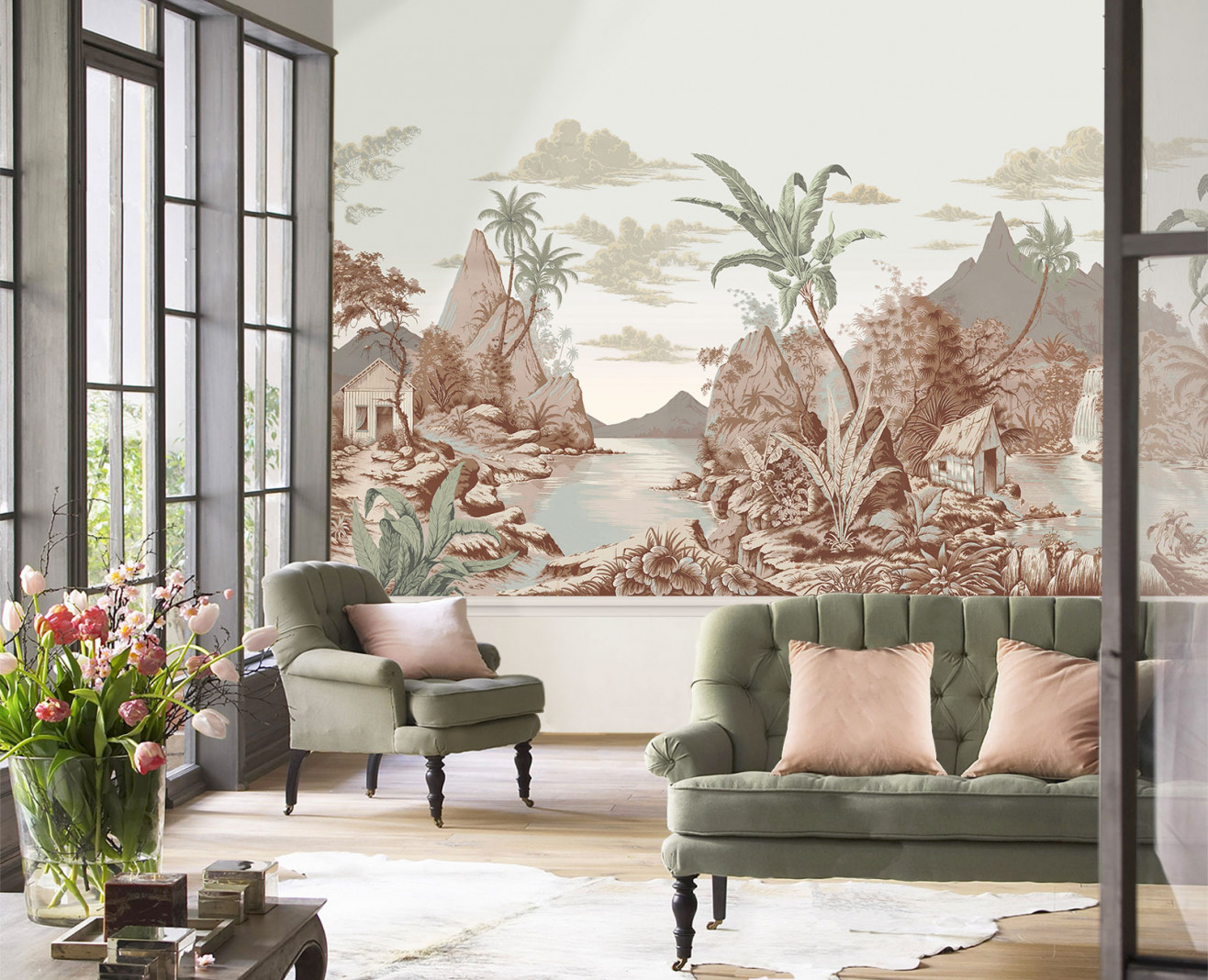 Panoramic wallpaper The west indies polychrome . 1960
