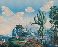 Panoramic wallpaper The landscape of Telemachus on the isle of Calypso polychrome . 1818