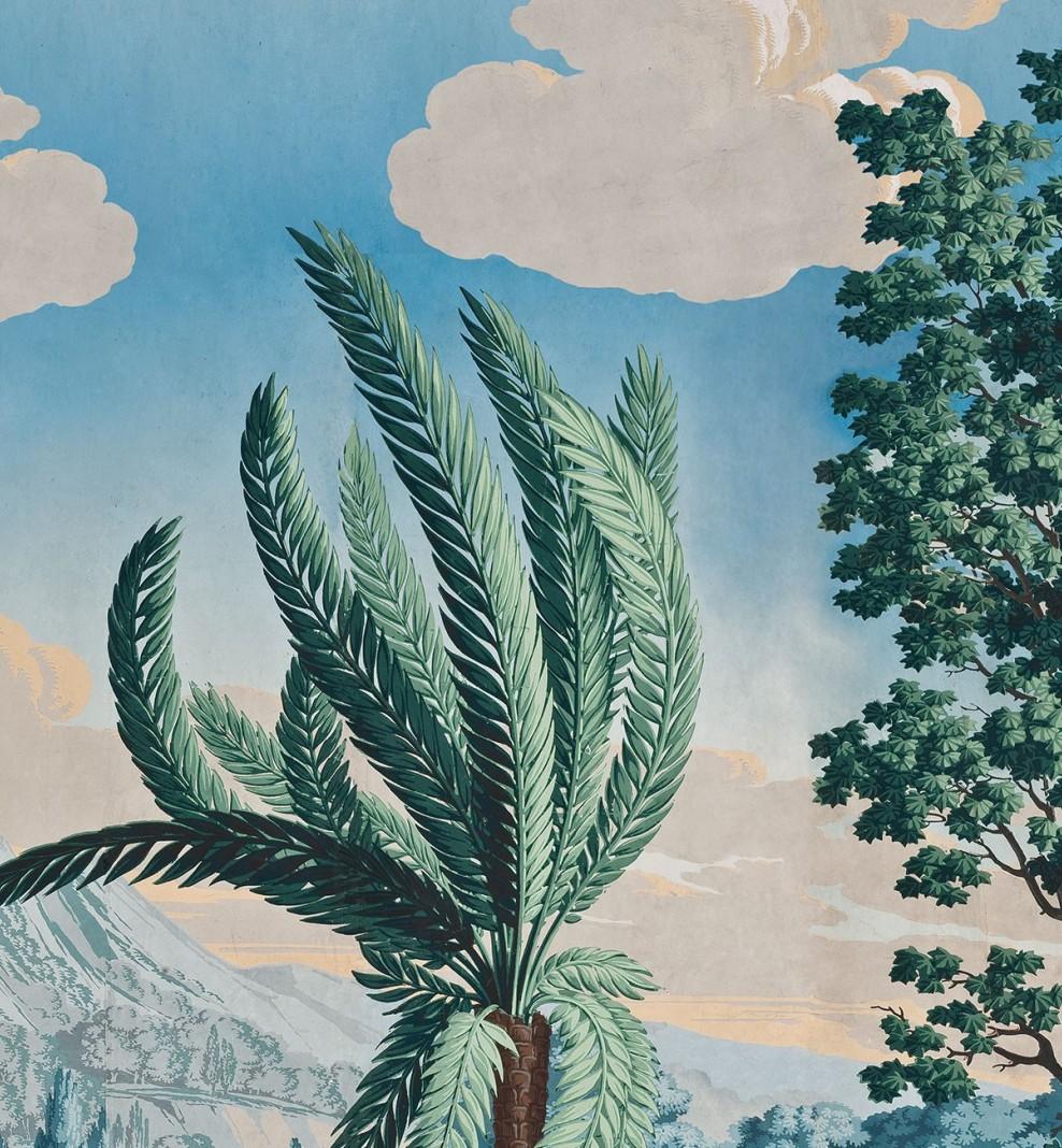 Panoramique Paysage de Télémaque dans l'île de Calypso polychrome . 1818