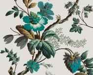 Papier peint décor Fleurs de fantaisie cyan . 1799
