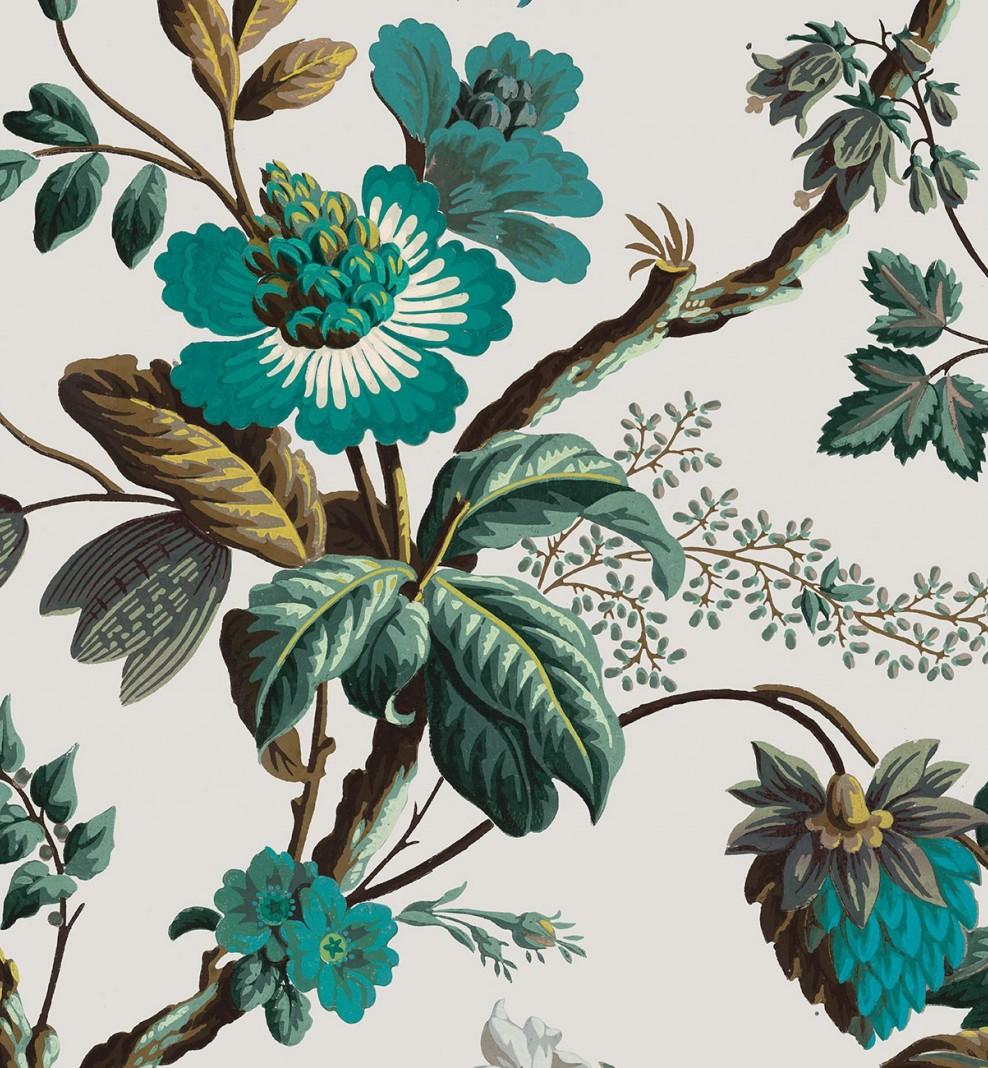 Papier décor Fleurs de fantaisie cyan . 1799