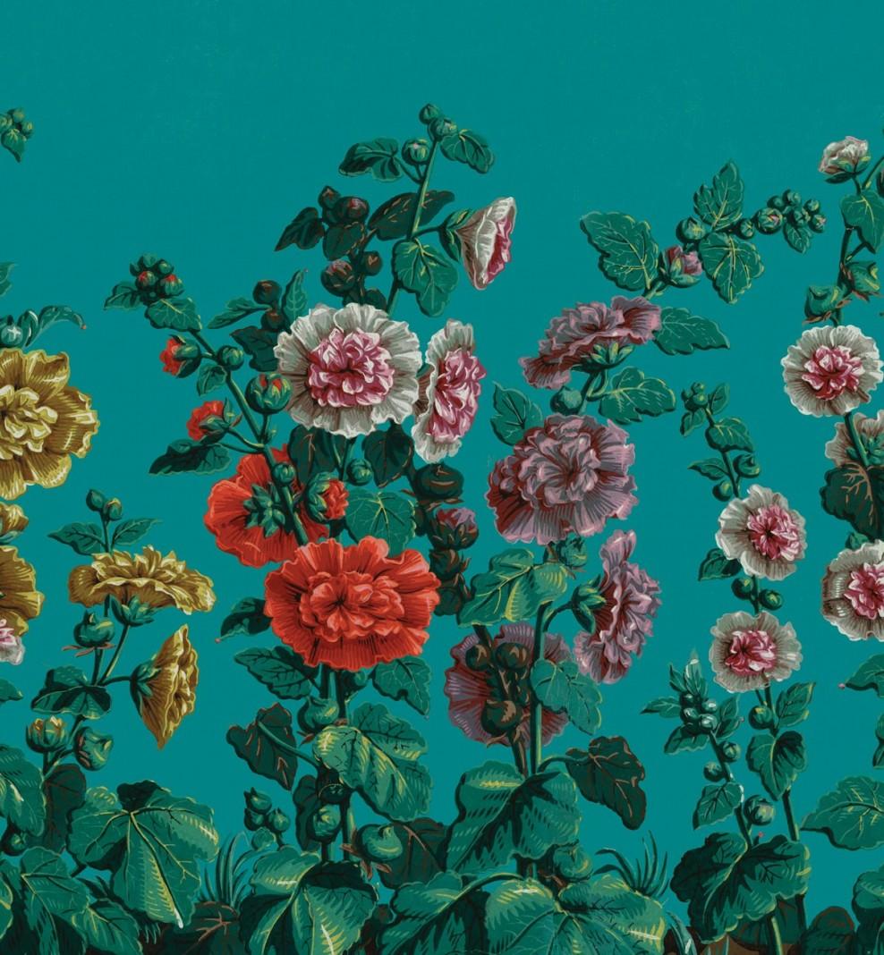 Papier décor Roses Trémières . 1799